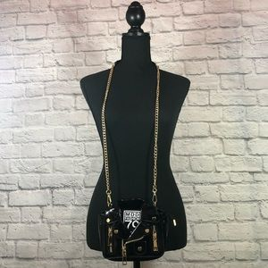NWOT Patent Leather Black Motorcycle Jacket Crossb